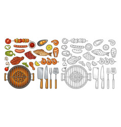Barbecue grill top view charcoal kebab mushroom vector