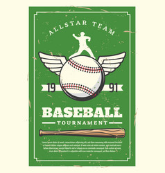 baseball sport tournament retro poster vector image