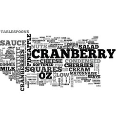 best recipes cranberry salad squares text word vector image