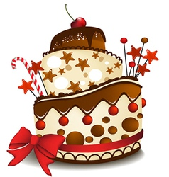 Big chocolate cake vector
