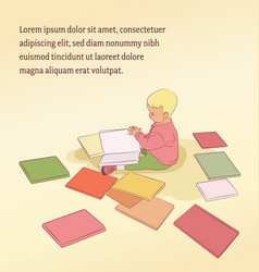 Blonde toddler reading vector
