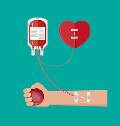 blood bag heart and hand of donor vector image
