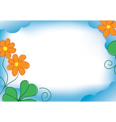 blue frame with orange flowers vector image