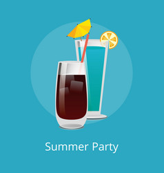 blue lagoon vodka cola with ice refreshing drinks vector image