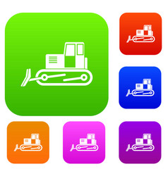bulldozer set color collection vector image