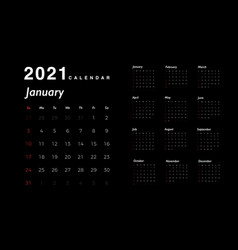 calendar 2021 new year white numbers days vector image
