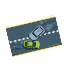 Car accident top view flat vector