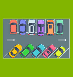 car parking top view city public parking spaces vector image