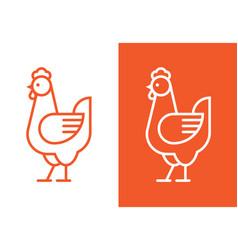 chicken linear logo vector image