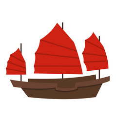 Chinese boat with red sails icon isolated vector
