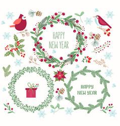 christmas wreaths flat set vector image