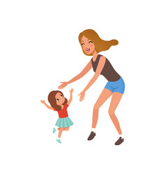 Cite smiling girl running towards her mother vector