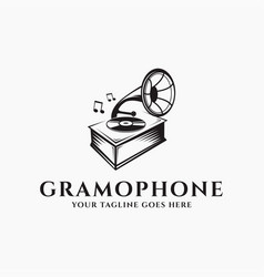 classic vintage gramophone logo icon template vector image