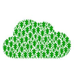 cloud shape of oak leaf icons vector image