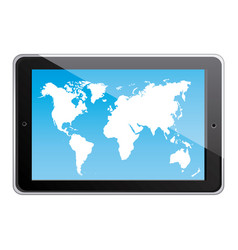 Color silhouette tablet in horizontal position and vector