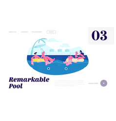 couple on resort floating at inflatable rings vector image