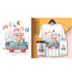 Cow travel - poster and merchandising vector