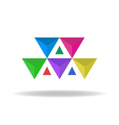 Design logo of the colorful faceted triangles vector