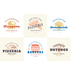 engraving fast food logos and labels with modern vector image