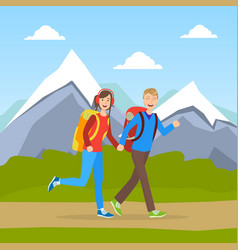 family couple hiking on nature cheerful tourists vector image