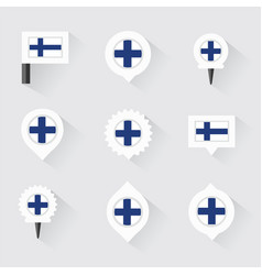 Finland flag and pins for infographic and map vector