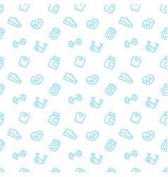 fitness seamless pattern with blue fitness icons vector image