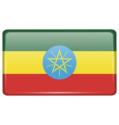 Flags Ethiopia in the form of a magnet on vector