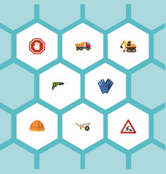 flat icons hardhat caution stop sign and other vector image