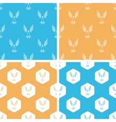 Flying bird pattern set colored vector image
