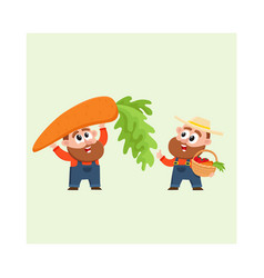 funny farmer characters harvesting vegetables vector image