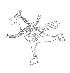 Funny horse on the skates nursery art minimalist vector