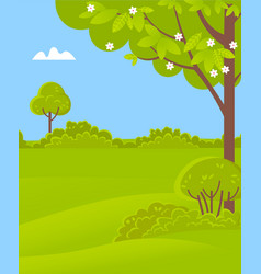 green scenery with trees bushes and grass spring vector image