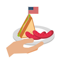hand holding sausage and sandwich american flag vector image