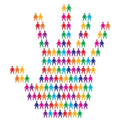 hand with people background vector image