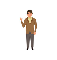 handsome young man in retro style suit vector image