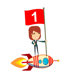 Happy woman holding number one flag standing on vector