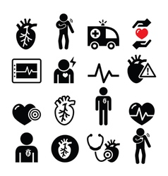 Heart disease heart attack icons vector