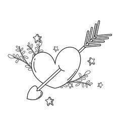 heart love card with arrow vector image