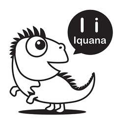 I Iguana cartoon and alphabet for children to vector image