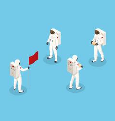 Isometric set astronaut spaceman isolated mars vector