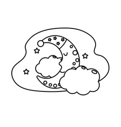 Line cute moon with sleep hat design and clouds vector