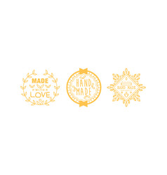 made with love logo set golden badges labels vector image