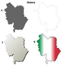Matera blank detailed outline map set vector