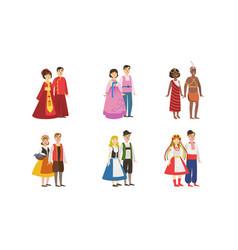 men and women dressed folk costumes various vector image