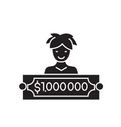 million check black concept icon million vector image