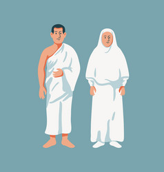 Moslem couple wear hajj cloth vector