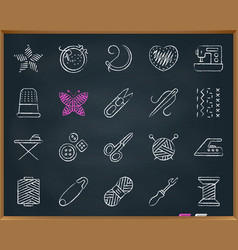 Needlework chalk draw line icons set vector