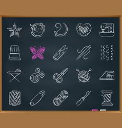 needlework chalk draw line icons set vector image