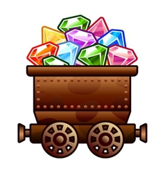 Old mine cart with diamonds vector