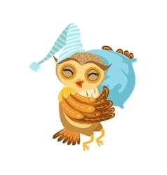 Owl Sleeping Cute Cartoon Character Emoji With vector image